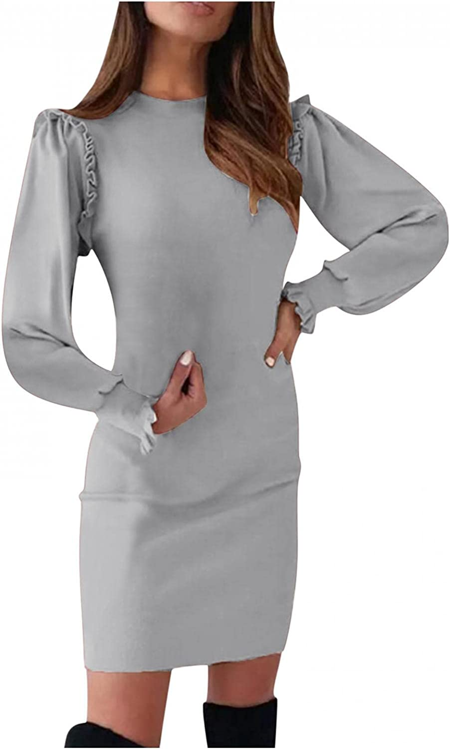 Fourtunes Women's Pure Color Long Sleeve Formal Dresses Round Collar Bodycon Slim Work Office Business Pencil Dress