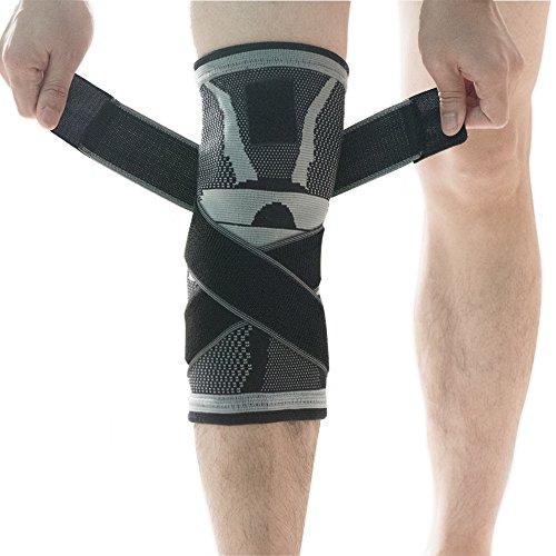Kniebandage, u-pick Kompressions Kniebandage Sleeve mit rutschfesten Einstellbare Druck-Riemen, Knie Protector für Laufen Sport Gelenk Patella Schmerzen Relief - Single Medium grau