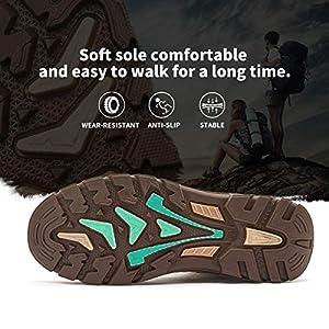 hash bubbie Women Mid Hiking Boots Outdoor Waterproof Non Slip Backpacking Trekking Walking Trails(Camel.8