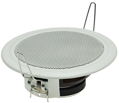 Plafond- en wandinbouwluidspreker CTE-W wit metalen beschermingsrooster beugelklemmen 8 Ohm eenvoudige montage Ø 135mm, 60 Watt wit