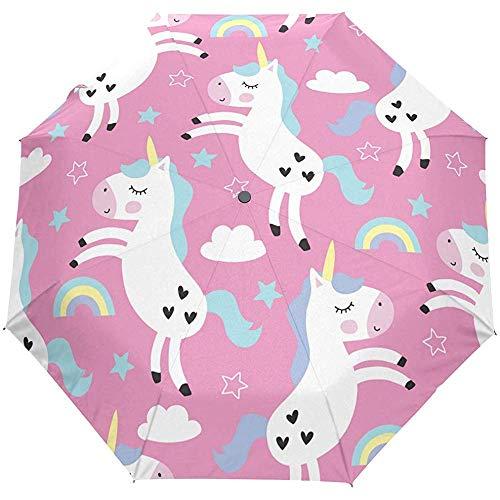 Leuke droom paard dier regenboog roze auto open paraplu zon regen paraplu anti-UV vouwen compacte automatische paraplu