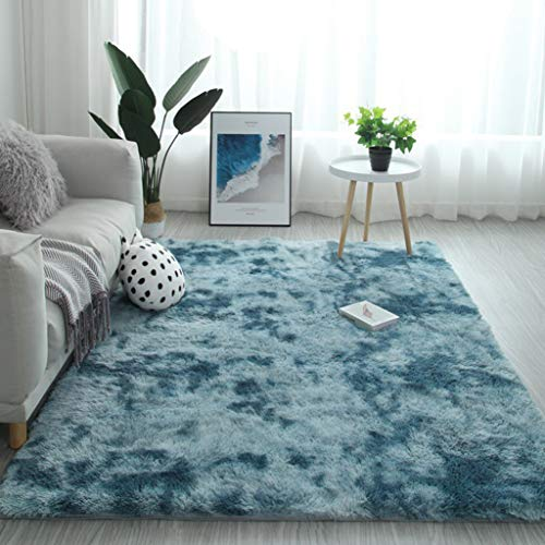 YUANBIAO Carpet 140x180cm Polyester Modern Style Rug Shaggy For Home Decor Bedroom Dormitory, Navy Blue