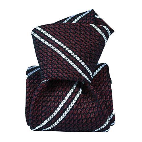Segni et Disegni. Cravate grenadine de soie. Westwood club, Soie. Rouge, Club/rayé. Fabriqué en Italie.