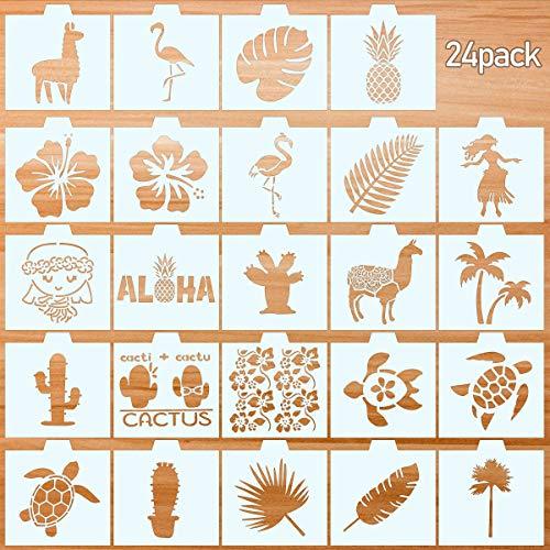 24 Pack tropischen Cookie Schablonen Hawaiian Aloha Malerei Vorlagen für Scrapbooking Zeichnung DIY Kunsthandwerk, 13CM