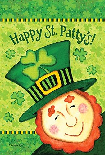 Toland Home Garden Happy St Patty's Deko-Fahne St. Patrick's Day Leprechaun Kleeblatt Kleeblatt