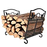 IBS Outdoor Indoor Firewood Racks, Fireplace Log Holder, Storage Carrier of Wood, Black, Foldable, Fire Pit Stove Decorative Holders Accessories