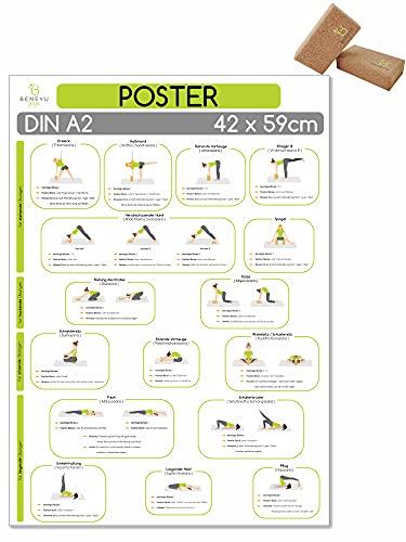 beneyu ® Yoga Poster für Yoga Block mit Yoga Asanas in Deutsch, DIN A2 (60x42cm) Klimaneutrale Produktion (auf A4 gefalzt) (gefalten, DIN A2)