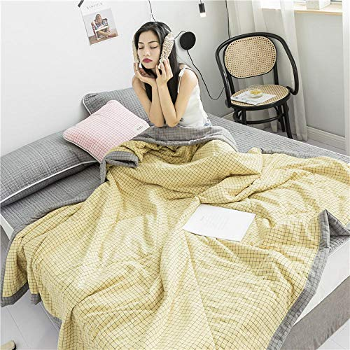 chenyaya Lightweight quilt Ideal for Summer,Summer washable antibacterial duvet, reversible lattice lightweight duvet for 1 person and 2 persons-yellow_78.74 * 90.55inch