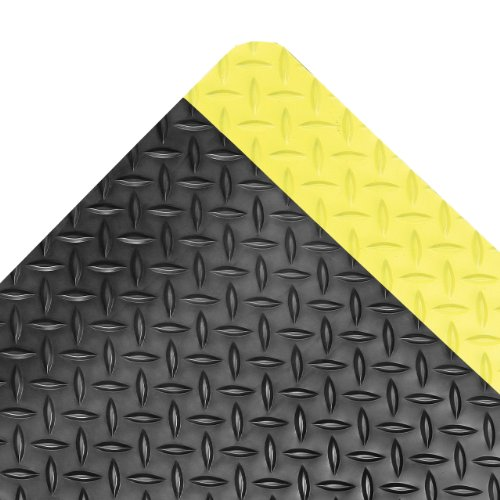 "NoTrax Vinyl 479 Cushion Trax Anti-Fatigue Mat, for Heavy-Traffic Dry Areas, 3' Width x 12' Length x 9/16"" Thickness, Black / Yellow"