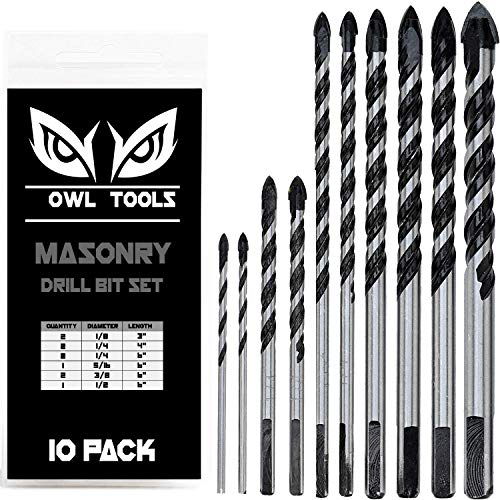 10 Piece Masonry Drill Bits Set (Tile, Brick, Cement, Concrete, Glass, Ceramic POTS, CINDERBLOCK, & Wood) Chrome Plated with Industrial Strength Carbide Tips - Bonus Storage CASE Included
