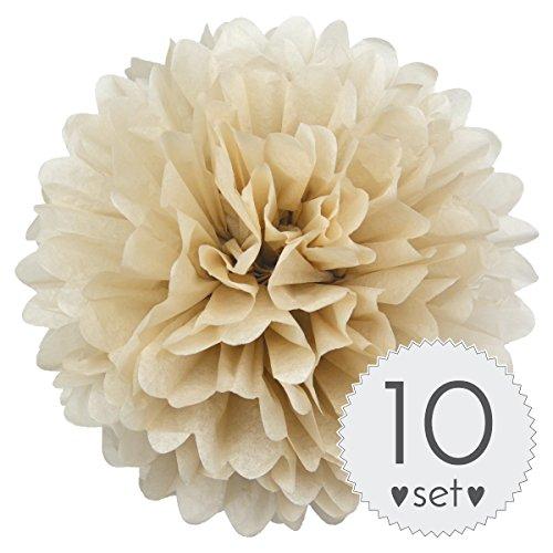 Simplydeko Pompoms Beige - Pom Pom Deko zur Hochzeit oder Party - 10er Set handgefertigte Seidenpapier Pompons (Beige Creme Sand, 40 cm)