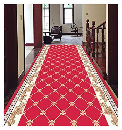XIAWU Alfombra De Mesa De Centro Corredor Antideslizante Sala Se Puede Cortar Escalera (Color : Red, Size : 100x480cm)
