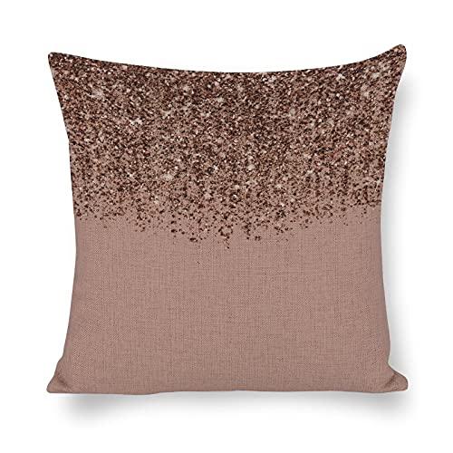 Funda de cojín de algodón y lino, color rosa, oro rosa, bronce en cascada, con purpurina para decoración de sofá, 45,7 x 45,7 cm