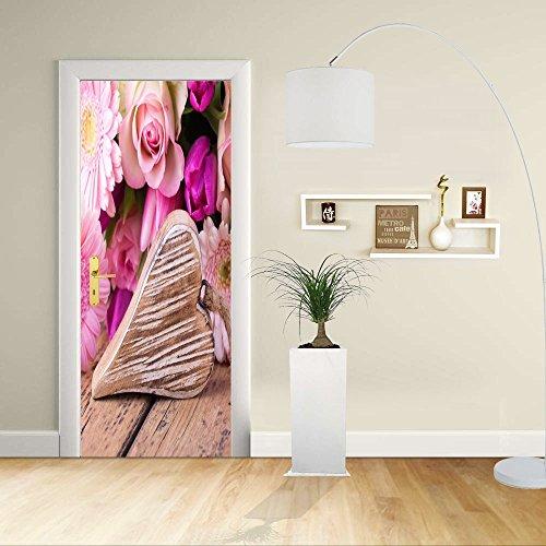 Autocollant de porte - Design- Coeur avec des fleurs - Décoration adhésive pour portes meubles maison-Print pour porte dimensions personnalisables-impression sur PVC (CM 90X210)