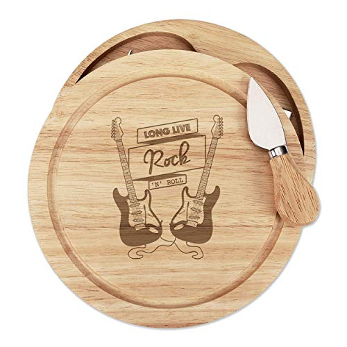 Long Live Rock N Roll Electric Guitar Wooden Cheese Board Set 4 Knives