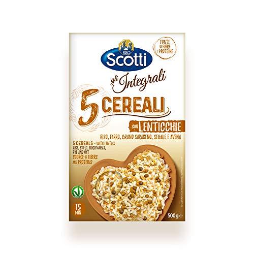 Riso Scotti - Riso 5 Cereali con Lenticchie - Mix Integrale di Riso, Farro, Grano Saraceno, Segale e Avena Fonte di Fibre - 500 gr