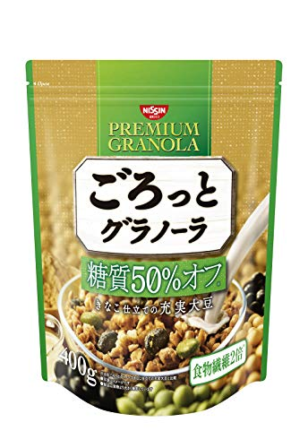 日清シスコ ごろっとグラノーラ 糖質50% オフ きなこ仕立ての充実大豆 400g×6袋