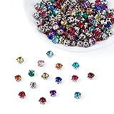 PandaHall 200 cuentas cuadradas para coser en diamantes de imitación de 5 mm con punta de latón para manualidades, ropa de vestir, zapatos, decoración de bolsas, colores mezclados al azar