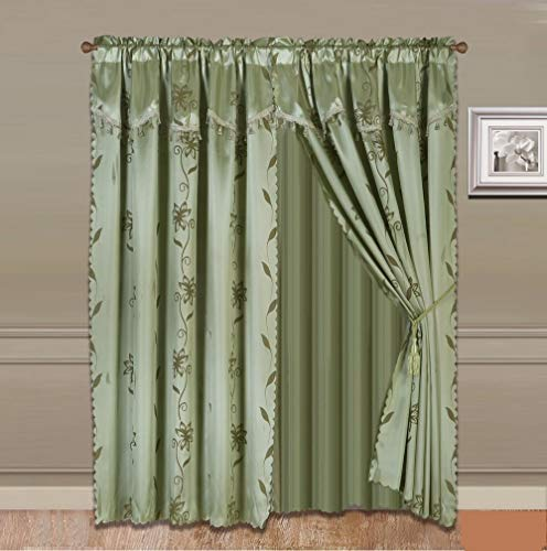 """Bedding Haus Floral Window Curtain Panel Pair Set 84"""" Length with Attached Valance and Sheer Backing, Faux Silk and Shiny, Light Filtering, Rod Pocket Drapes with Valance, Nada 84"""" Sage Green"""