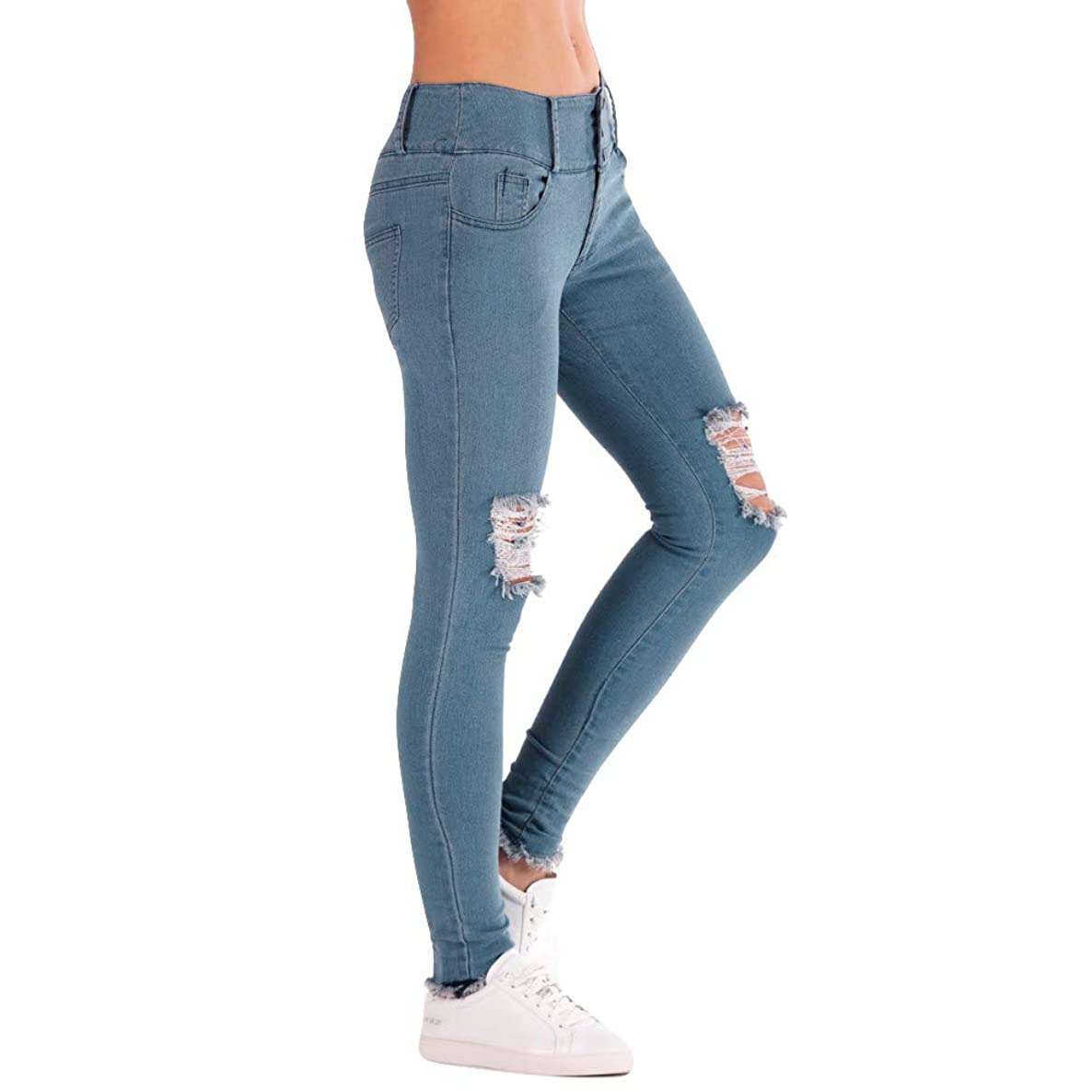 Women's Skinny Jeans, 2019 New Elastic Waist Stretch Ripped Distressed Denim Jeans Pants by E-Scenery