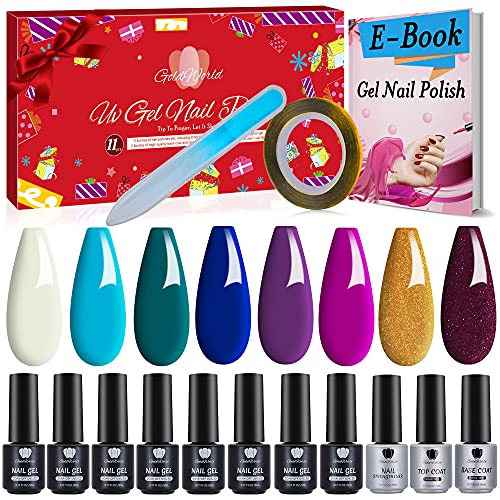 Gel Nail Polish Kit,Stocking Stuffers for Women,Christmas Gifts for Women Mom Her Friend Wife Sister,13pcs Nail Set w/e-Book,Nail Glass Nail File,Nails Strips Line