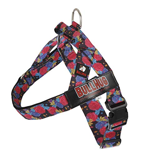 BULLHUG No Pull Harness for Medium Dogs – Easy Control Adjustable Dog Harness – Perfect Dog Training Vest Harness – Stop Pets from Pulling & Choking Easy-Walk Harness - Floral Black Dog Harness