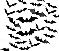 DIY them into different wing angles. Fit any SMOOTH & DRY surface like painted wall\glass\tile (REMEMBER to CLEAN the dust before applying). The set totally has 108 pieces in one pack. 4 size design to fit all your need for the Halloween decorations....