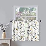 VOGOL Cortinas de nivel para cocina, hermosas aves vides impresas de ventana corta cortina de bolsillo cortinas para café, 76 cm de ancho x 91 cm de largo, 2 piezas (gris pájaro)