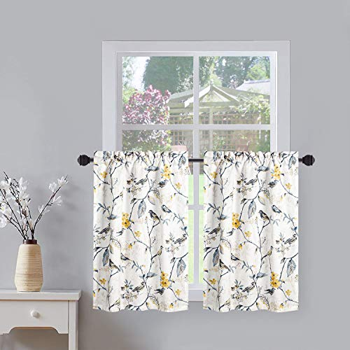VOGOL Tier Curtains for Kitchen, Lovely Birds Vines Printed Short Window Curtain Pocket Valances Panel Drapes for Cafe, 30'' Wide x 36'' Long, 2 Pieces (Bird-Grey)