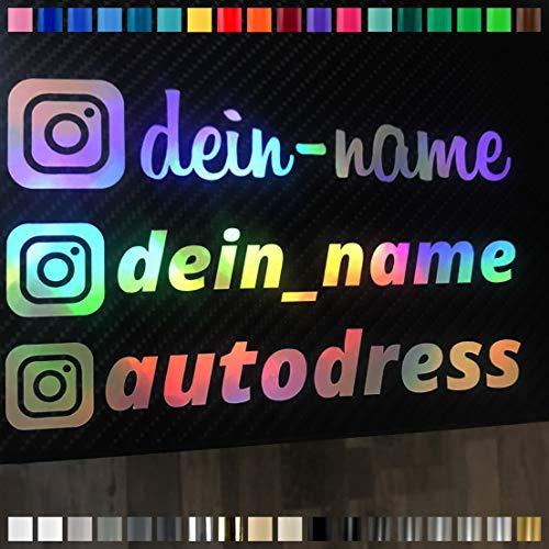 Auto-Dress® Instagram Wunschname, Oil-Slick Folie, Auto-Aufkleber 1 STK. 20x5cm (Weiß Glanz)