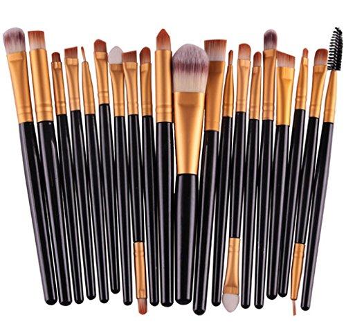 Bigood 20Pcs Pinceaux Poudre Maquillage Professionnel Brosses Cosmétique Make up (Noir Manche Or Tube)