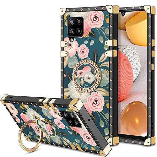 HoneyAKE Case for Samsung Galaxy A42 5G Case with Kickstand Women Girls Soft TPU Shockproof Protective Heavy Duty Cushion Reinforced Corner Case Compatible with Samsung Galaxy A42 5G 6.6 Inch Flower
