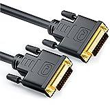 deleyCON 1,5m Cavo da DVI a DVI 24+1 - DVI-D Dual Link - HDTV 1080p Full HD 3D Ready - Cavo Adattatore Cavo per Monitor con Nucleo in Ferrite - Nero