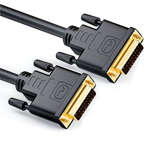 deleyCON 1,5m DVI para DVI Cable 24+1 - DVI-D Dual Link - HDTV 1080p Full HD 3D Ready - Cable Adaptador Cable de Monitor con Núcleo de Ferrita - Negro