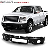 ACANII - For 2009-2014 Ford F150 F-150 Pickup Truck Black Powder Front Bumper Face Bar w/o Fog Light Holes Assembly