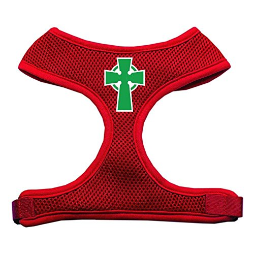 Mirage Pet Products Celtic Cross Screen Print Soft Mesh Dog Harnesses, Large, Red