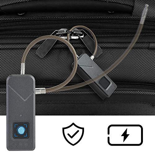 Pbzydu 【𝐄𝐚𝐬𝐭𝐞𝐫 𝐏𝐫𝐨𝐦𝐨𝐭𝐢𝐨𝐧 𝐌𝐨𝐧𝐭𝐡】 Smart Fingerprint Padlock, Waterproof Travel Keyless Anti-Theft Luggage Lock(Black)