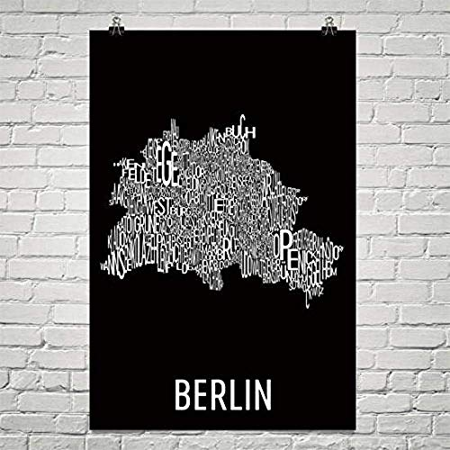 Moderne kaart Kunst Berlijn Typografie Wijk Kaart Kunst Stad Print, Berlijn Muur Art, Berlijn Kunst Poster, Geschenken, Kaart van Berlijn, Duitsland Kunstwerk, Berliner Poster