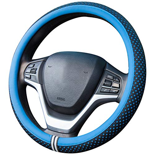 XuanMax Universal Fundas para Volante de Coche Cuero PU 38cm Antideslizante Cubierta del Volante 15 Pulgadas Respirable Cubre Volante Piel - Azul