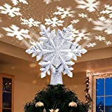 Yostyle Christmas Tree Topper Lighted with White Snowflake Projector, LED Rotating Snowflake, 3D Glitter Lighted Sliver Snow Tree Topper for Christmas Tree Decorations