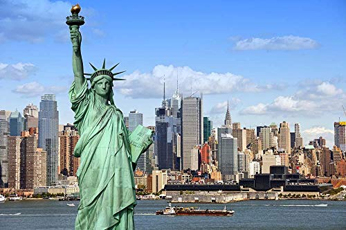 MTAMMD Puzzles Casas De Estatua De La Libertad Ciudad De Nueva York 500 1000 Piezas Rompecabezas De Paisaje De Madera para Adultos para Niños Juguetes Educativos Regalos