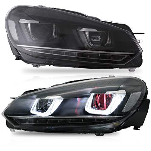VLAND Scheinwerfer Kompatibel für 2010 2011 2012 2013 2014 GOLF MK6 / 2012-2013 GOLF R, LED-Scheinwerfer mit DRL-Blinker, vollem LED-Licht, Plug-and-Play