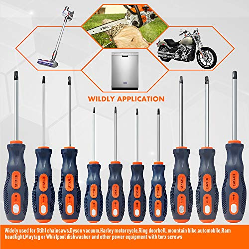 Torx Screwdriver Set,TECKMAN 10 in 1 Magnetic Torx Security Screwdrivers with T6 T8 T9 T10 T15 T20 T25 T27 T30 T40 Long Bit for Stihl Saws,Dyson Vacuum,Motorcycle,Bicycles,Automobile and Dishwasher
