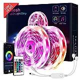 12M Bluetooth Ruban LED, KOOSEED LED Ruban 5050 RGB, Contrôlé par APP avec Télécommande, Mesh LEDs Intérieur Connectés en Série Pour Fête, Chambre, Bar, Soirée