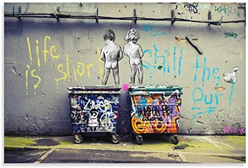 LGHLJ Cuadros Decoracion Banksy Chill The Duck out Lienzo Arte póster y Arte de Pared impresión de Cuadros Poster de Decoracion moderna50x70cm x1 Sin Marco