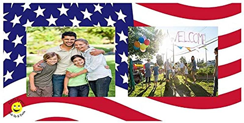 Famfo Sun Visor Picture Frame Look Up And Smile American Flag Patriot Theme