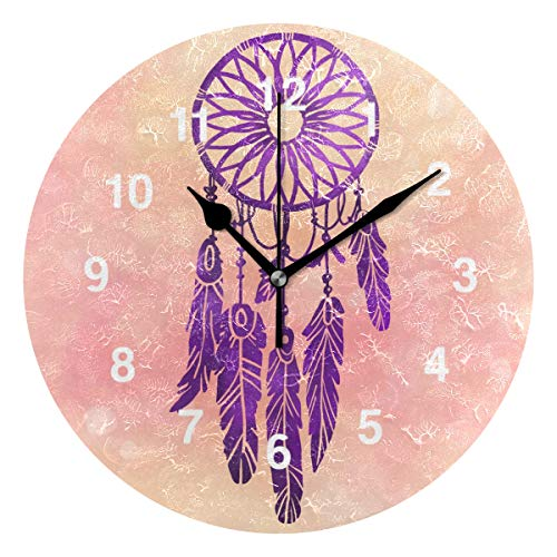 Jojogood Purple Dream Catcher Wall Clock Silent Non Ticking Clock,Battery-Powered with Quartz Movement for Living Room Bedroom Home Decoration