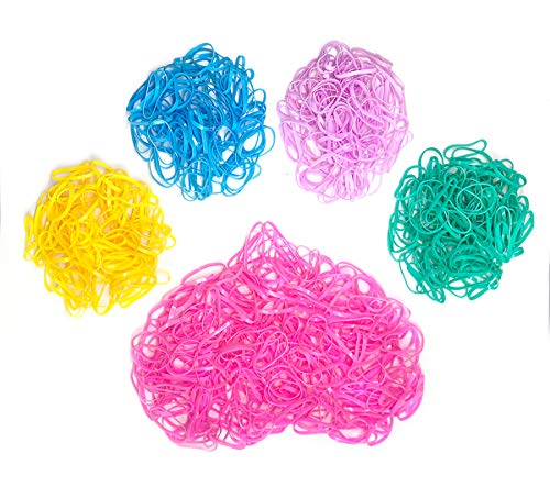 WOLINSPRING thick large size 1000pcs Hair Elastics Bands for Girls Kids hairstylist, 5 Candy Color Mix Tiny Rubber Hair Bands Hair Accessories Polyband Elastics Hair Ties