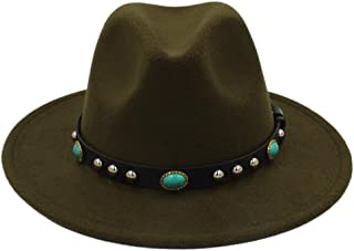 SXQ Bohemia Women Wool Felt Hat Fashion Vintage Hat with Jewelry Wool Fedora Hat (Color : Green, Size : 56-58cm)