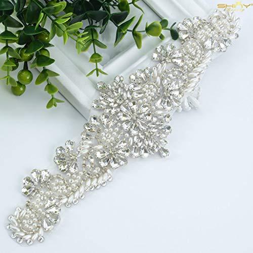 ShiDianYi Crystal and Rhinestone Beaded Applique Bridal Belt Wedding Sash Applique